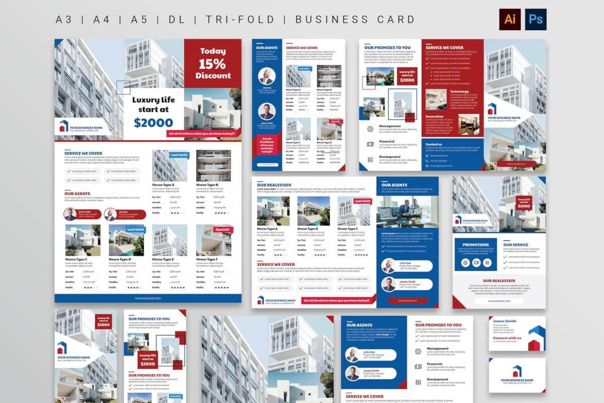 房地产大气高档海报/传单/三折页模板