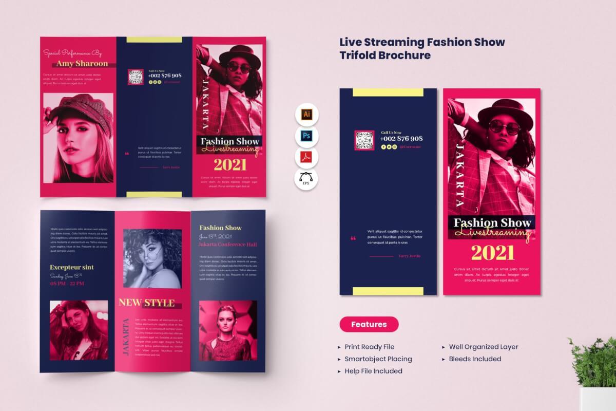 简洁时尚潮流服装行业招商三折页设计模板