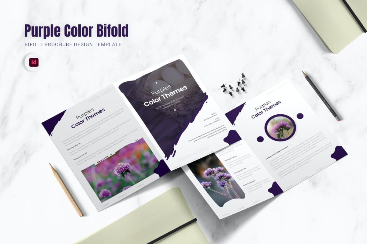 紫色高贵典雅企业宣传二折页设计模板