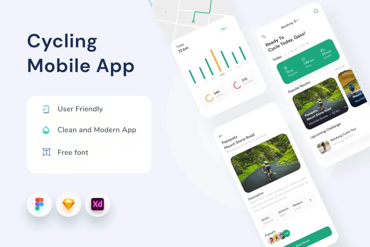 简洁风格的健身锻炼app UI Kit设计figma设计模板