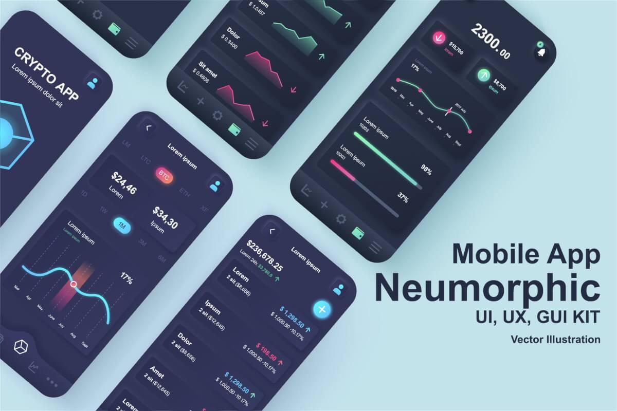 Neumorphic-新拟物风格的数字加密货币交易平台APP UI Kit设计模板