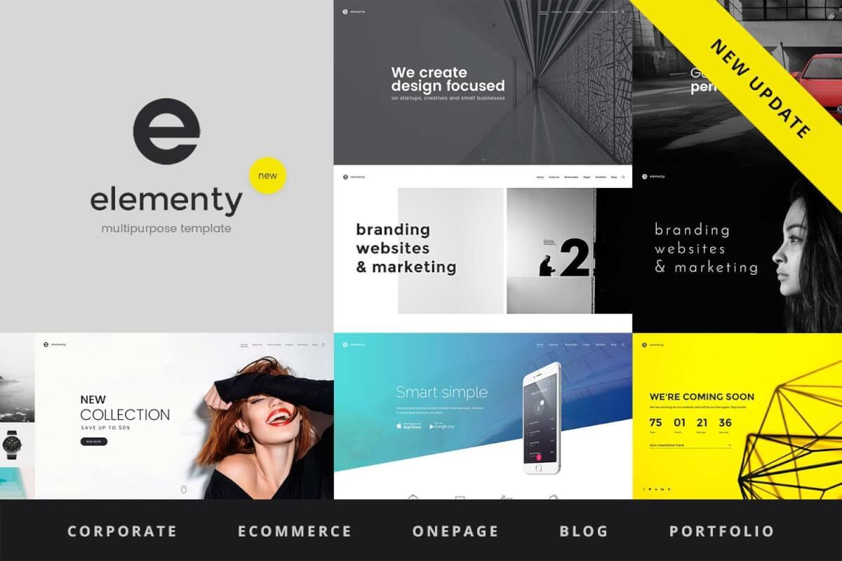 Elementy-简约大气网站多用途一页和多页HTML前端模板
