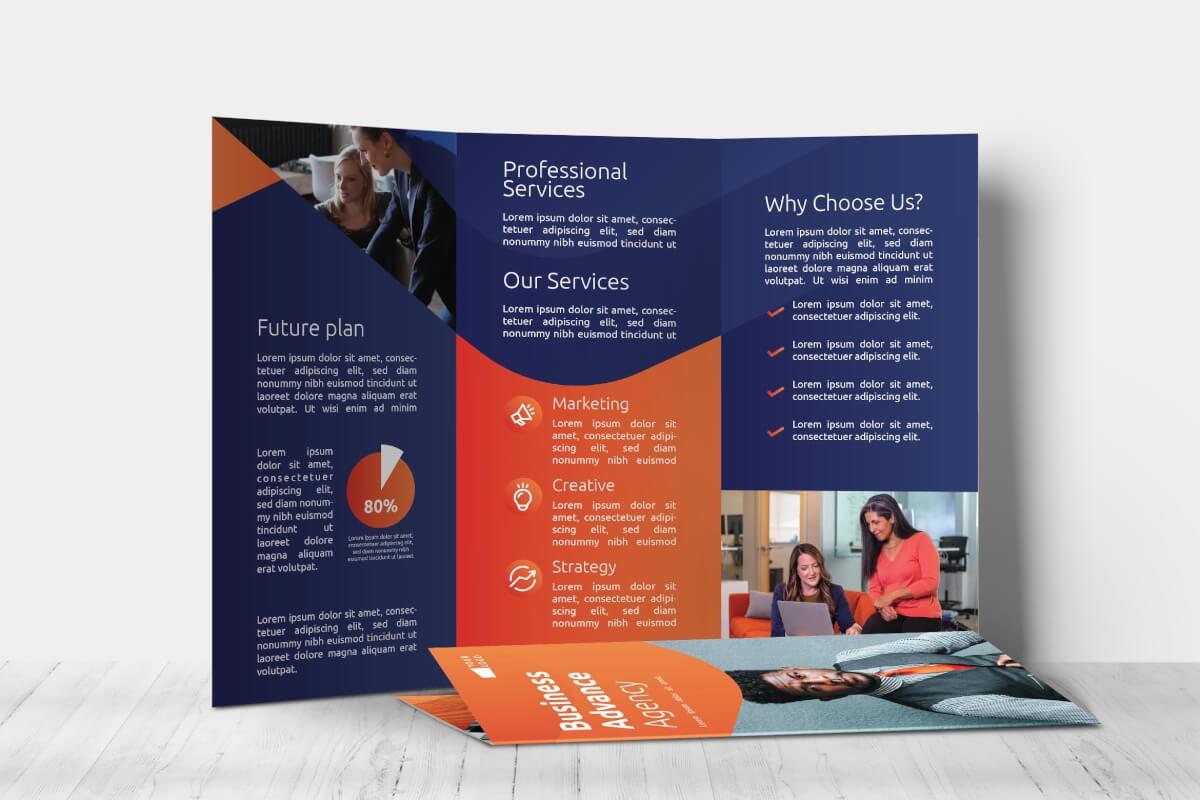 深色系科技公司介绍高档三折页模板