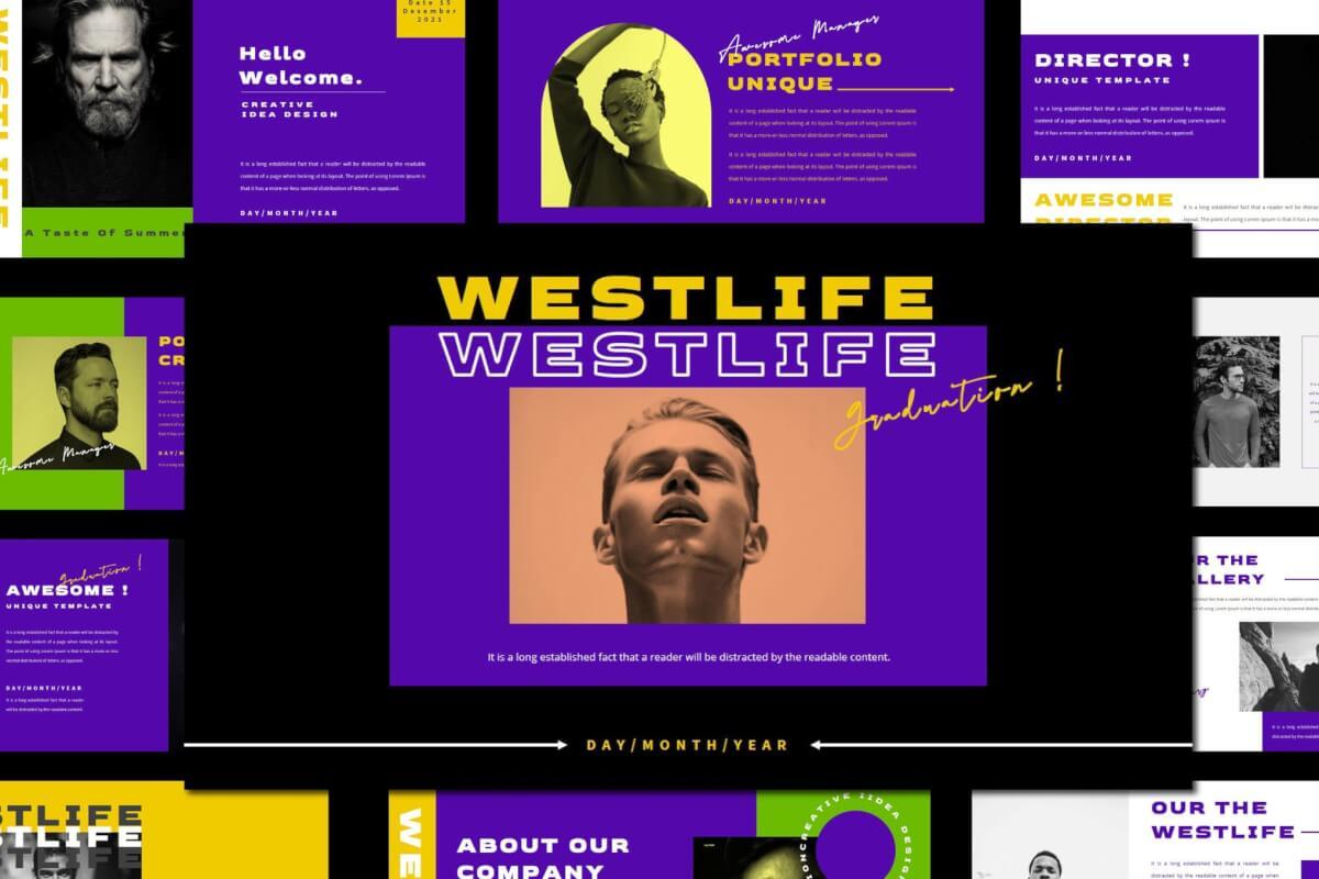 WESTLIFE-紫色时尚简约风宣传活动PPT模板
