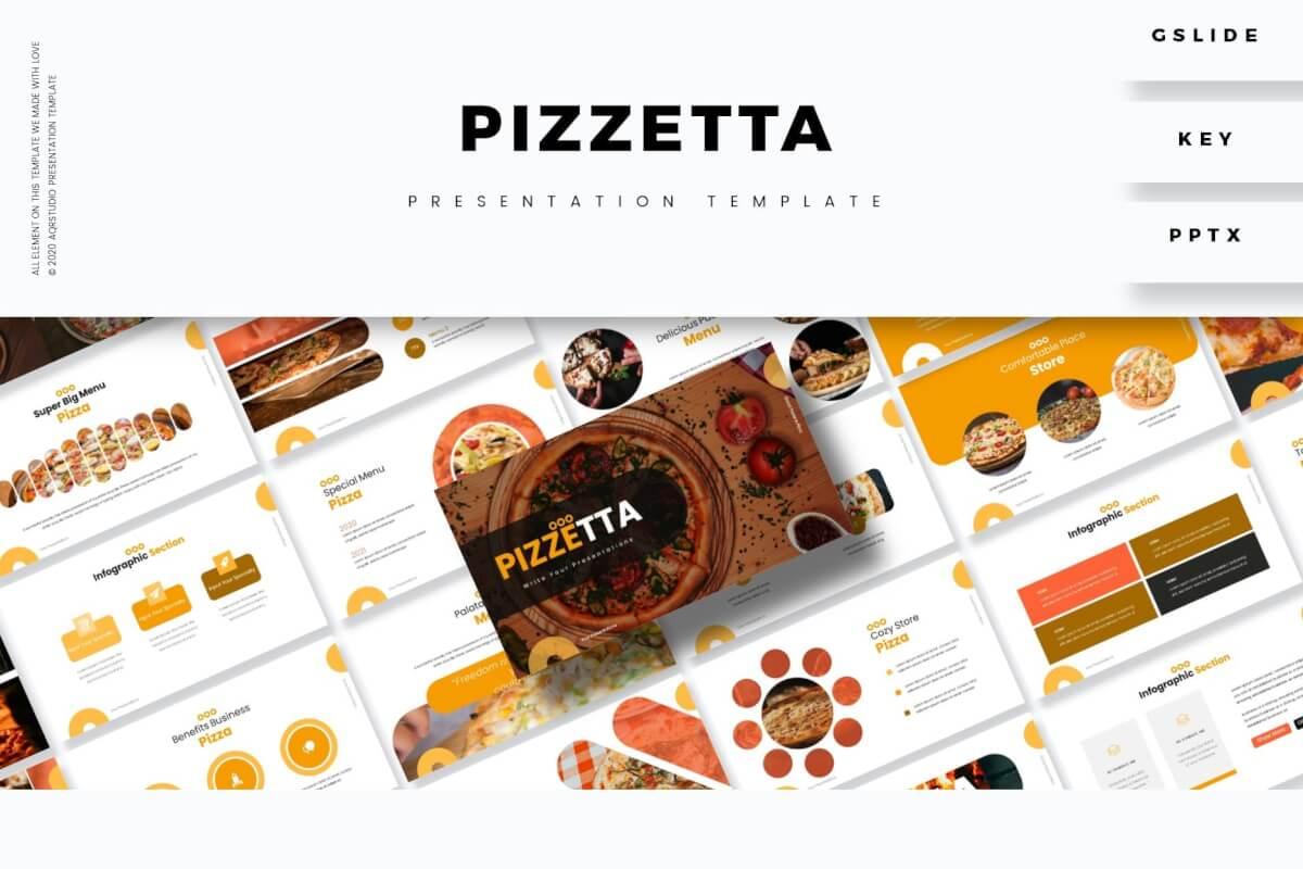 Pizzetta-餐饮美食宣传介绍展示PPT设计模板
