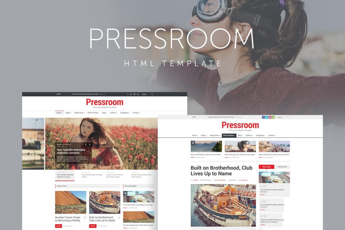 新闻发布室-新闻和杂志响应式网站html模板