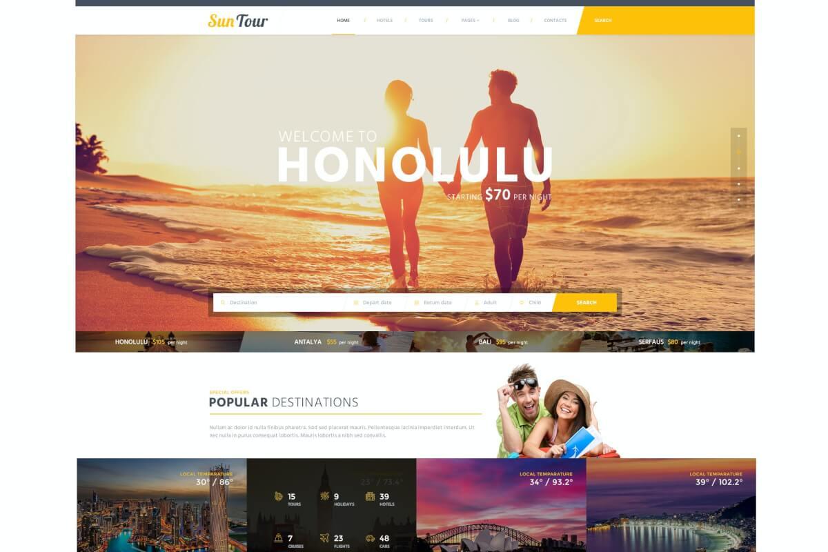 SunTour创意旅行社网站前端HTML模板