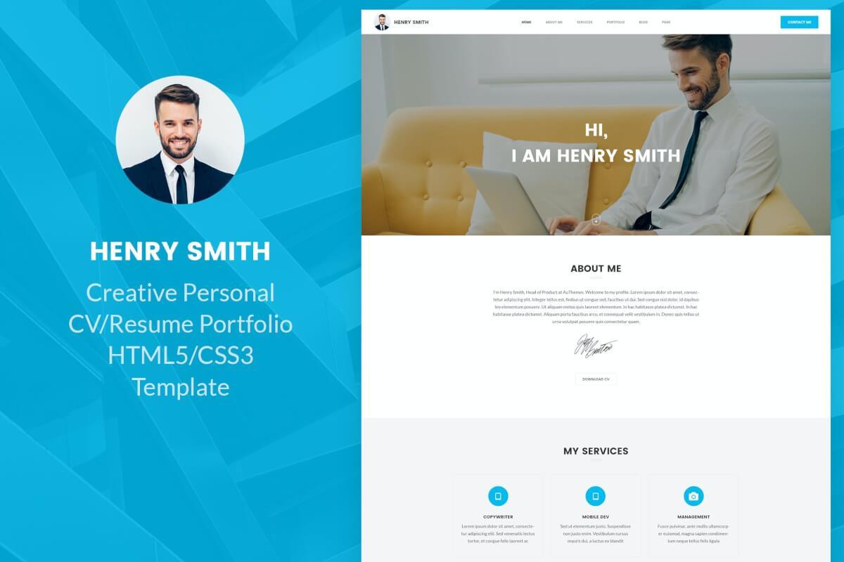 创意个人简历响应式网站HTML5模板