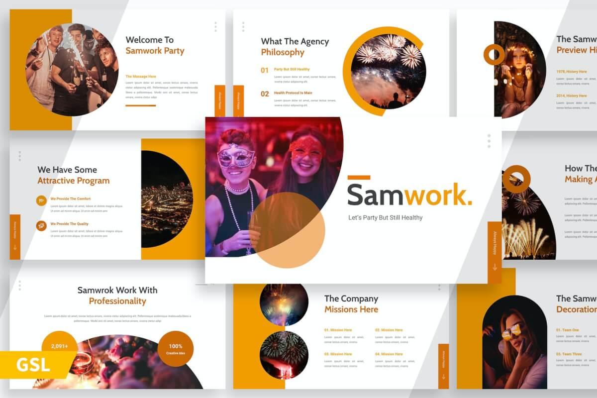 Samwork-商务广告宣传Google幻灯片模板