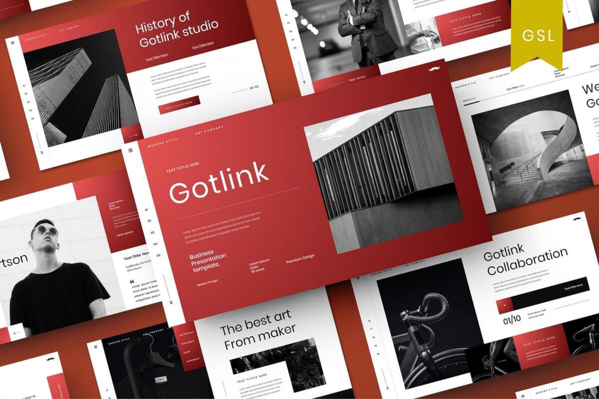 Gotlink-红色商务高端商业Google幻灯片模板