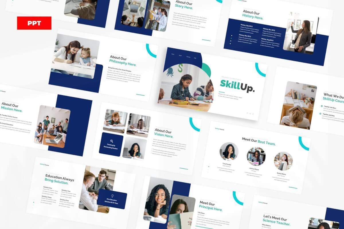 SkillUp-在线课程教育培训宣传推广PPT模板