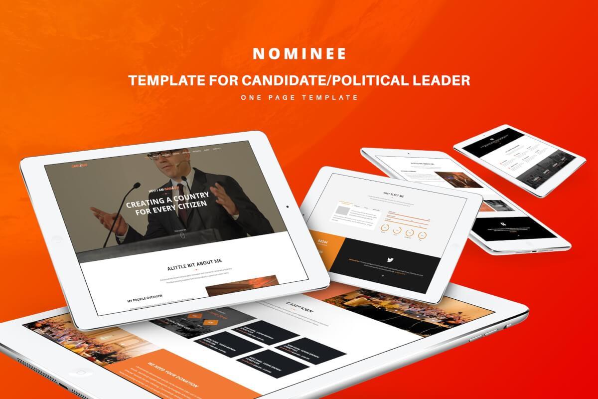 候选人/政治领袖的网站设计HTML模板