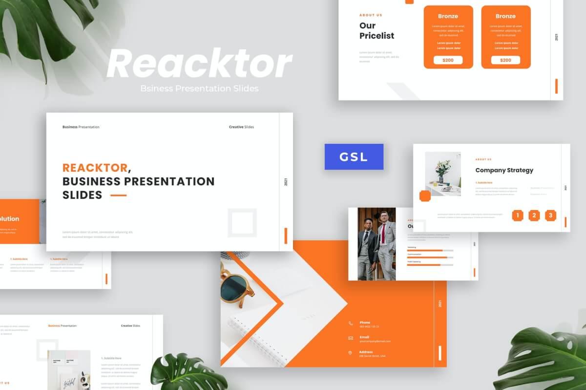 Reacktor-业务演示橙色Google幻灯片模板模板