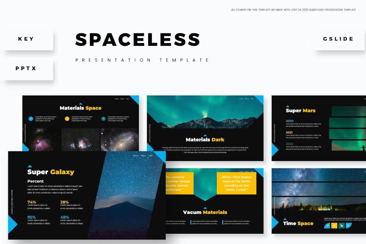 Spaceless-欧美黑色高端公司介绍产品宣传PPT模板