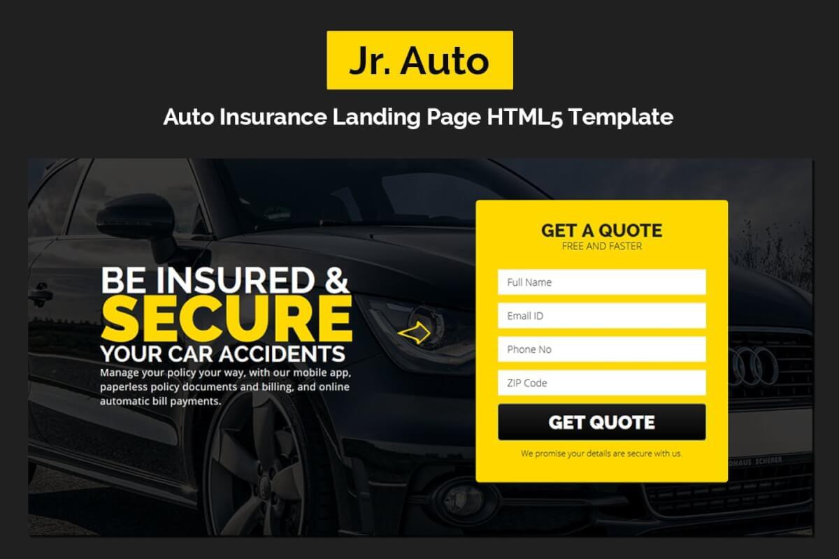 小汽车保险着陆页自适应HTML5网站模板