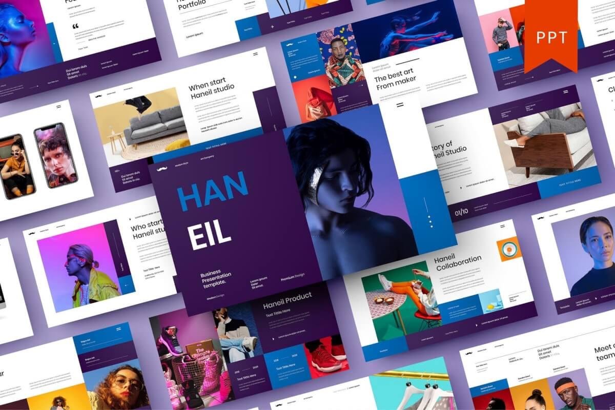 Haneil –欧美简约时尚商业PowerPoint模板