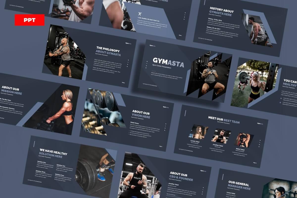 Gymasta-健身房运动健身宣传PPT模板