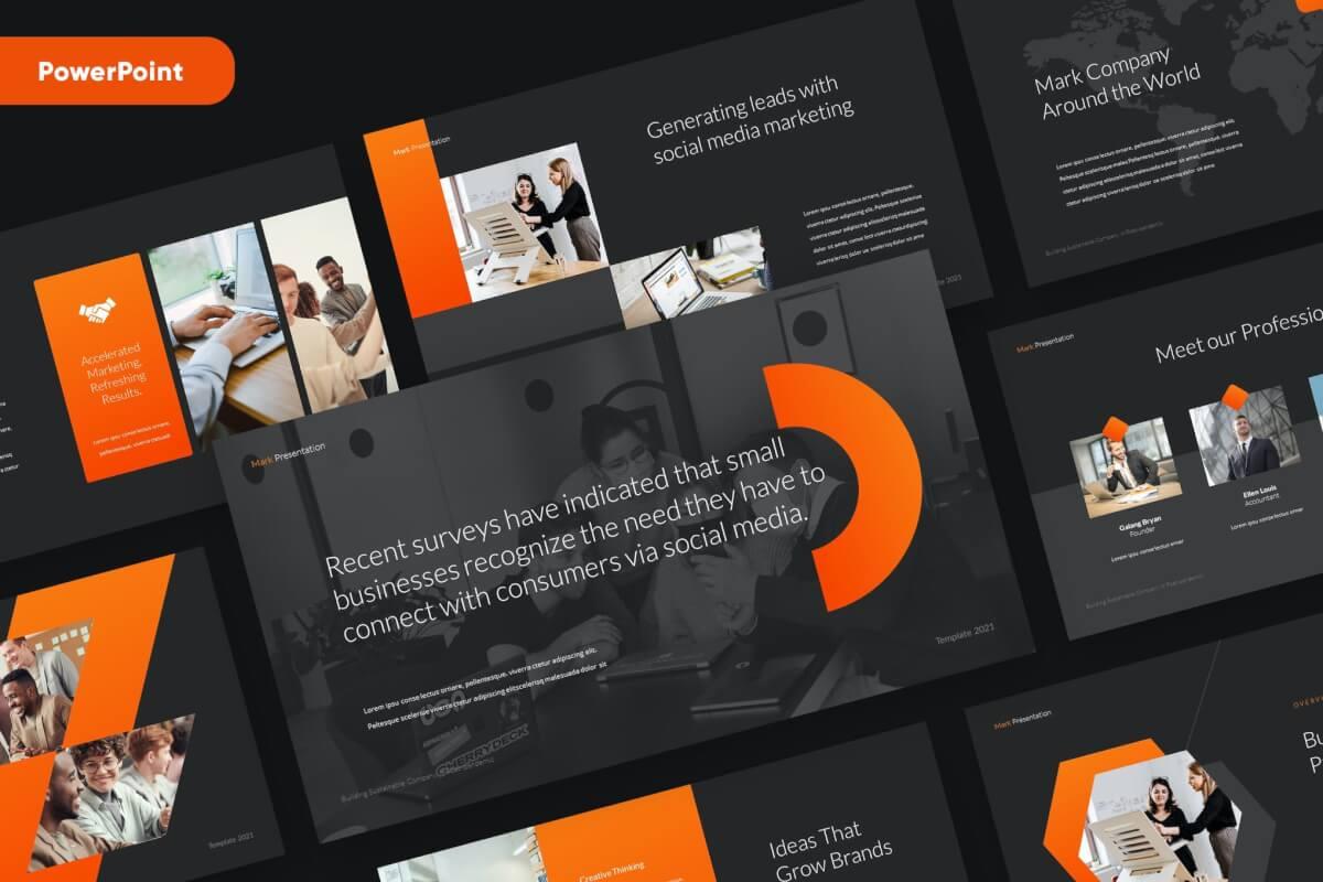 MARK-现代商业黑橙色大气PowerPoint模板