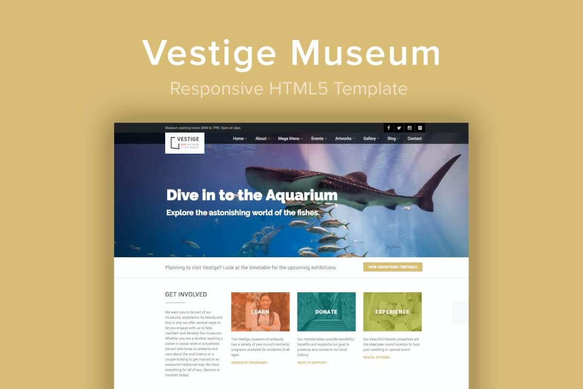 Vestige Museum-博物馆自适应网站HTML5模板