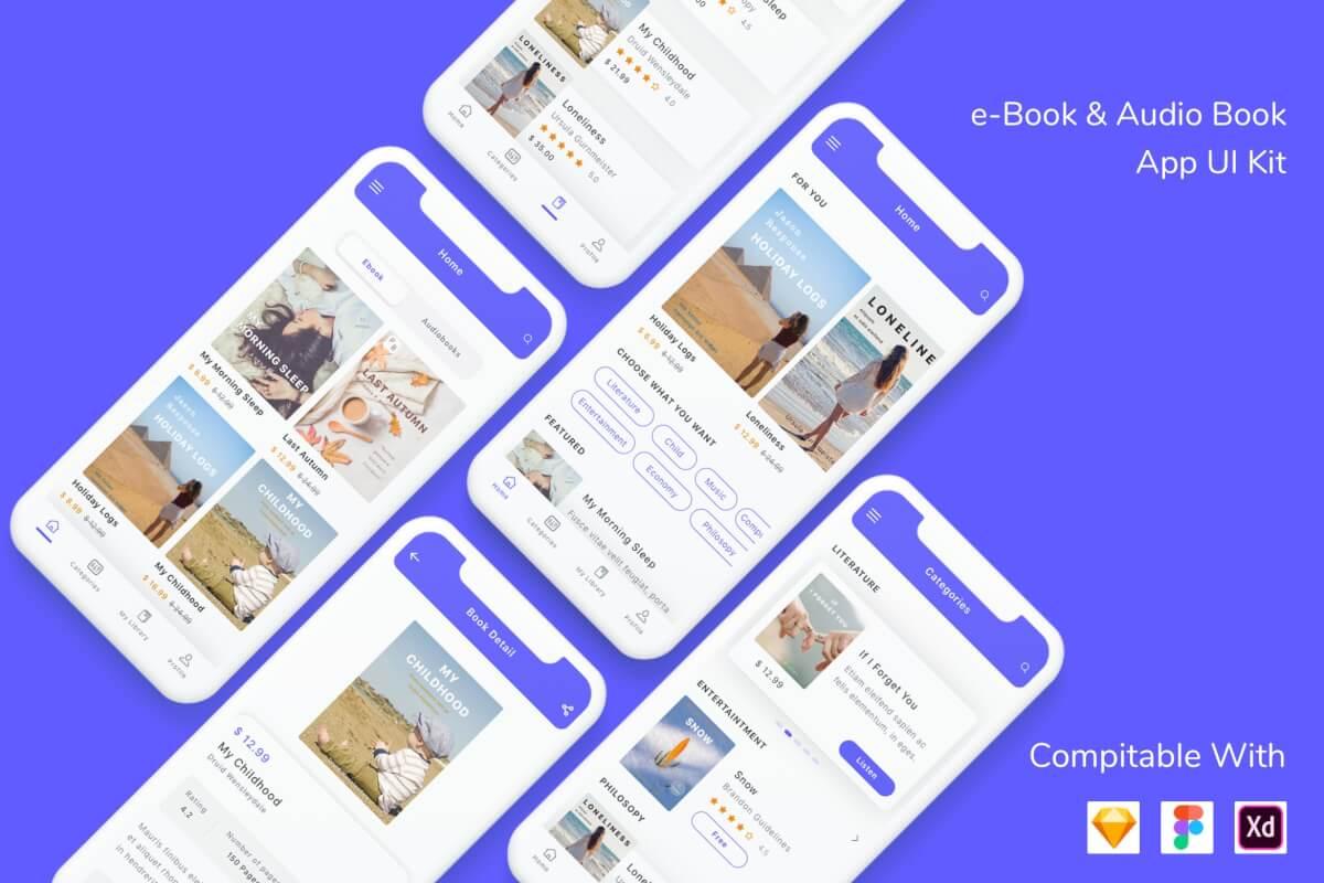 电子书和有声书应用程序UI套件设计模板