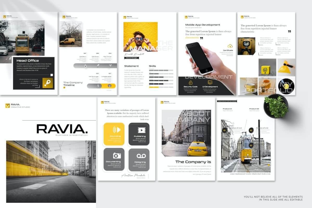 Ravia-A4 企业宣传Google幻灯片