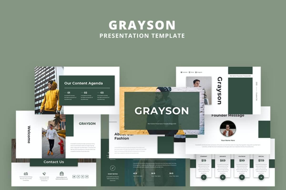 Grayson-时尚个人述职报告ppt模板