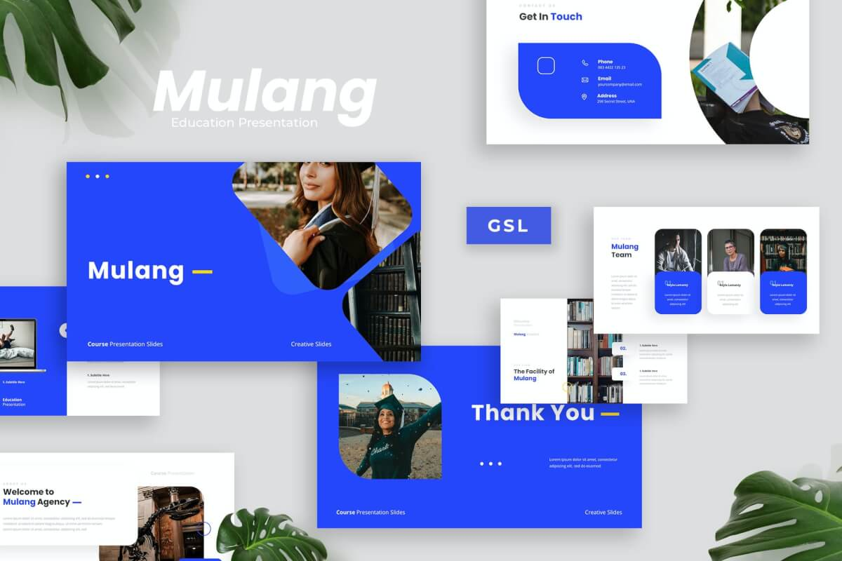 Mulang-蓝色商务简约风课程介绍Google幻灯片模板