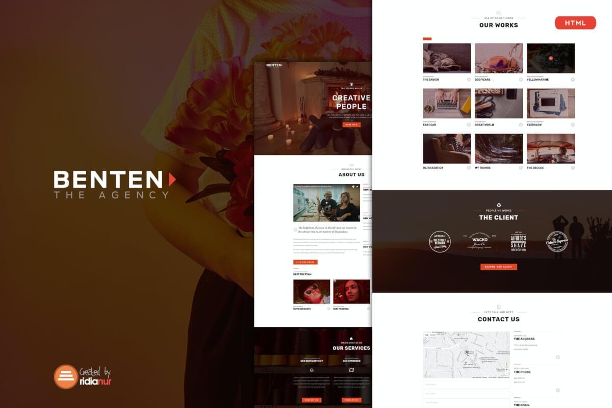 Benten-多用途自适应Bootstrap网站html前端设计模板