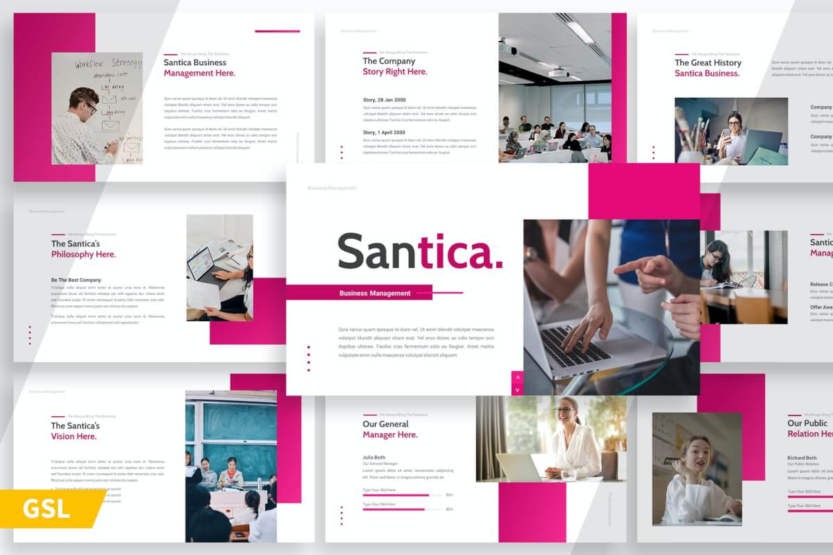 Santica-粉红简约工作汇报Google幻灯片设计模板