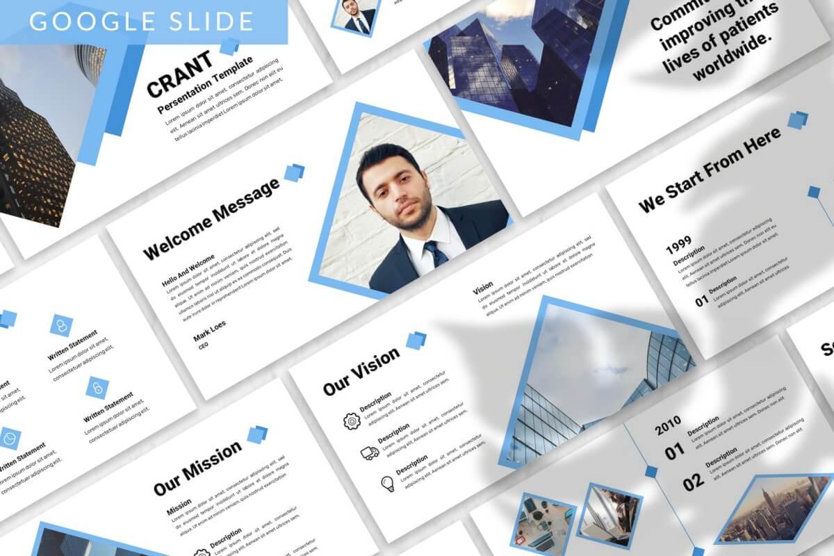 Crant-简约质感蓝色商业商务PPT模板