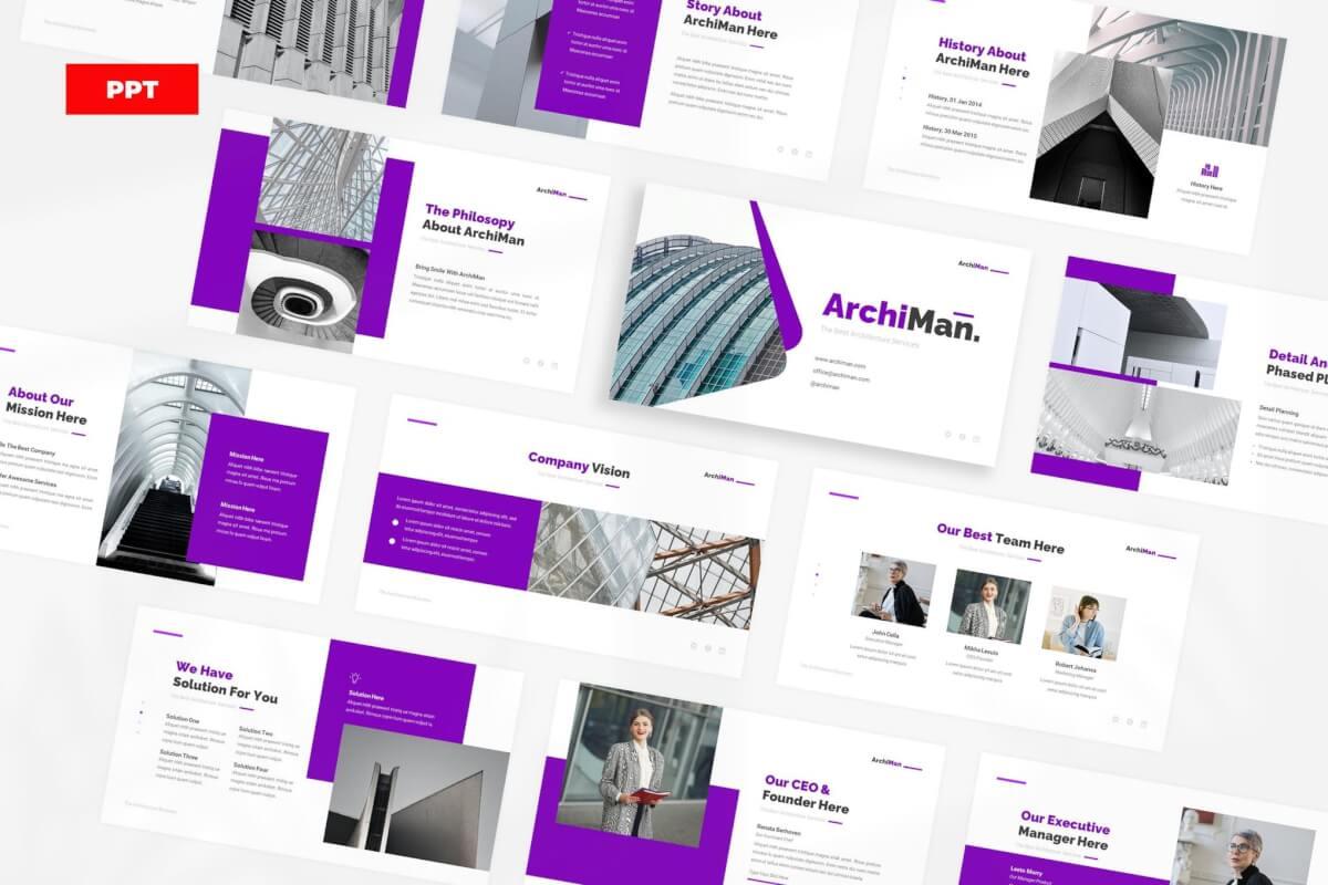 ArchiMan-蓝色建筑行业工程项目汇报PPT模板
