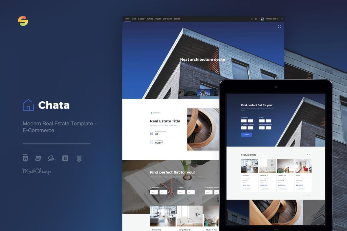 Chata-现代房地产模板电子商务Bootstrap前端html模板