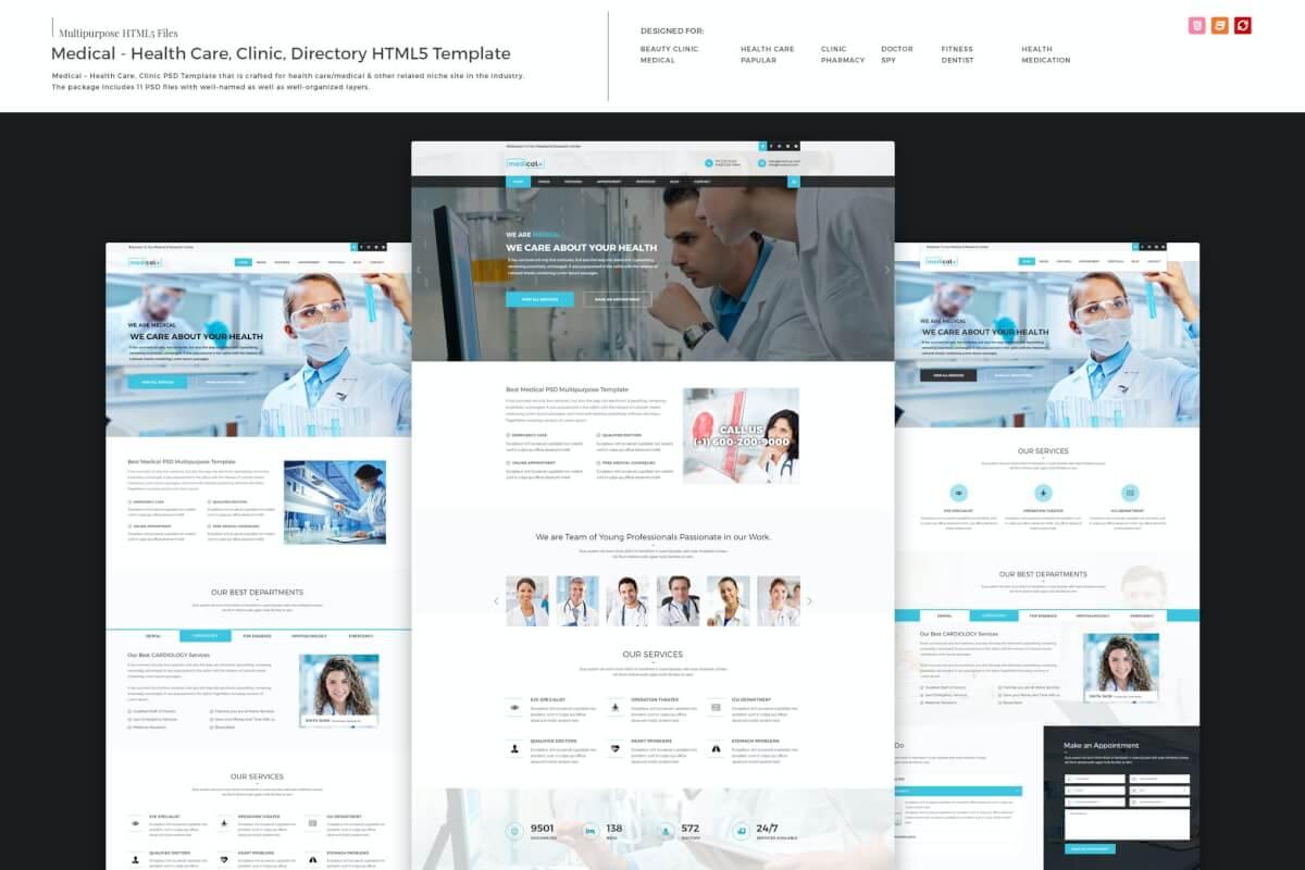 医疗-卫生保健诊所网站HTML5前端设计模板