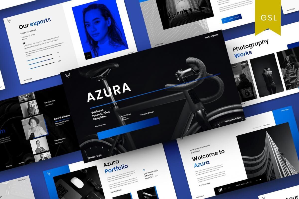 Azura-商务风电商总结报告Google幻灯片模板