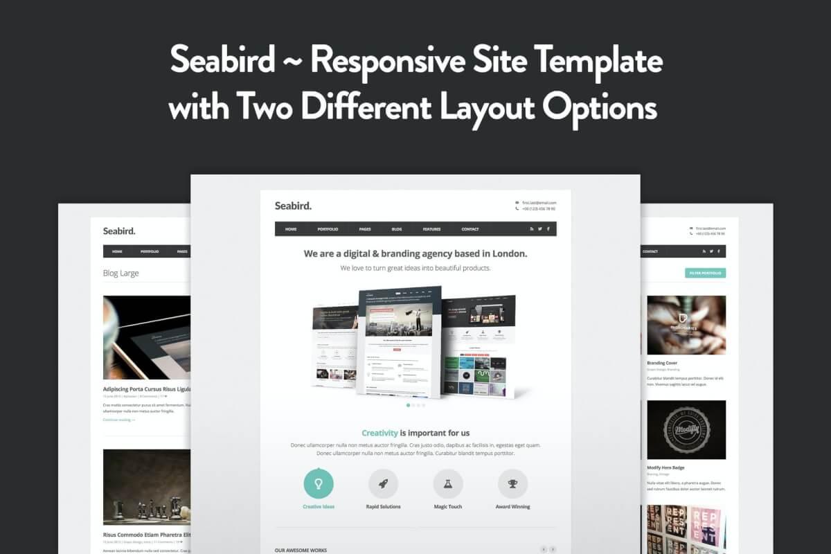 Seabird-多用途响应式HTML5前端Bootstrap模板