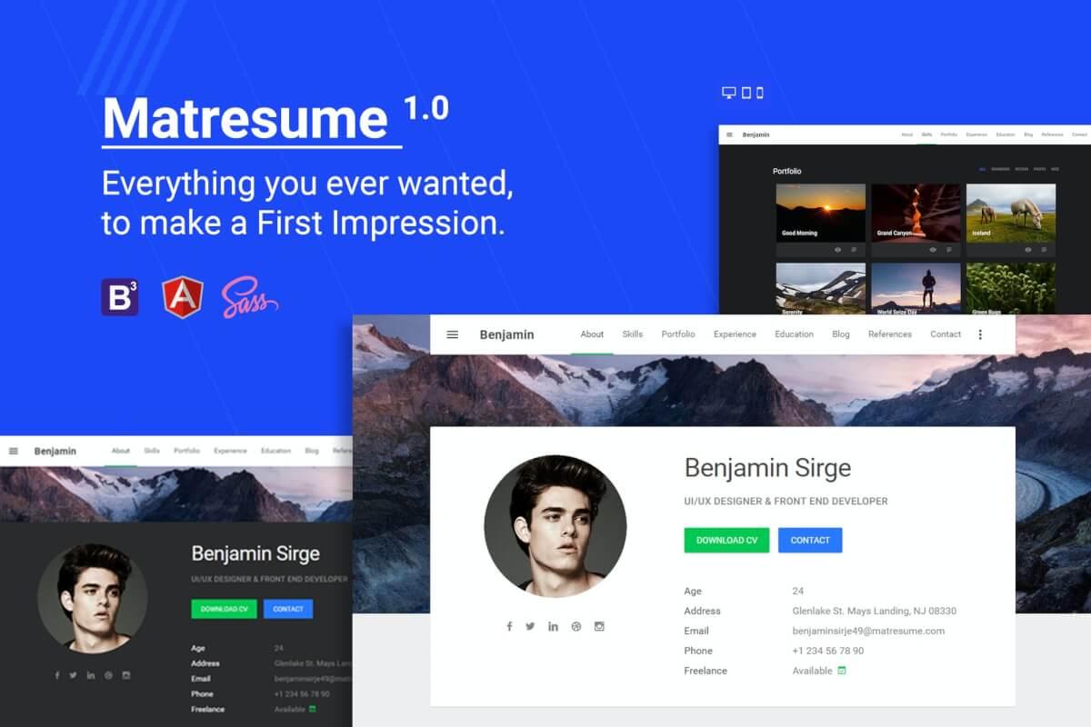 Matresume-个人简历设计前端HTML自适应模板