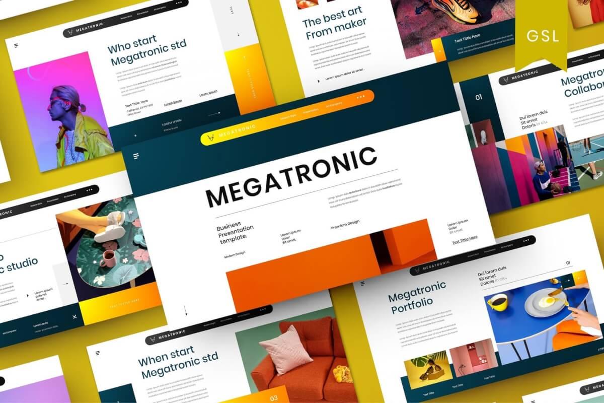 Megatronic-时尚大气商业Google幻灯片模板