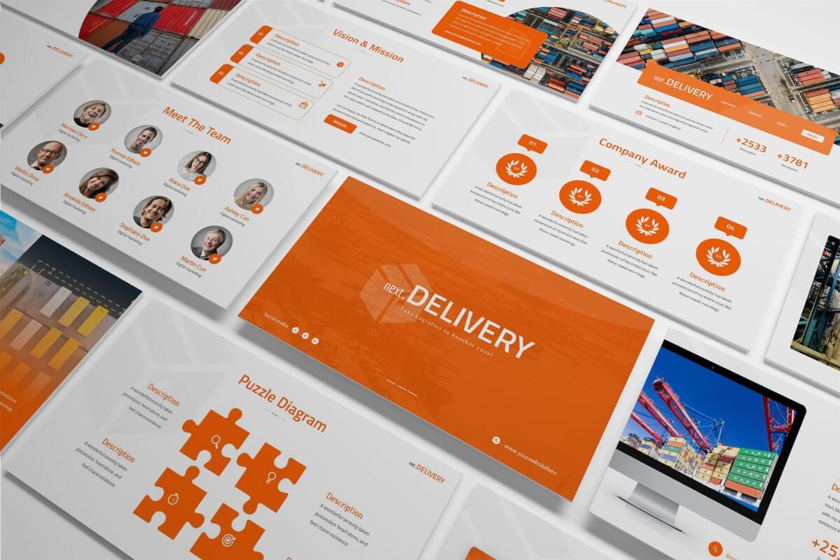 NextDelivery-扁平化物流公司企业介绍ppt模板