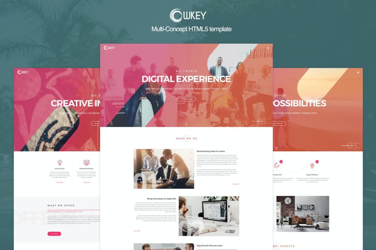 Owkey-多用途概念自适应网站HTML5模板