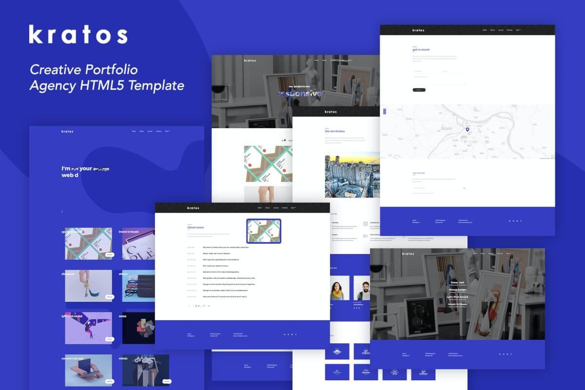 Kratos-创意组合多用途自适应网站html前端设计模板