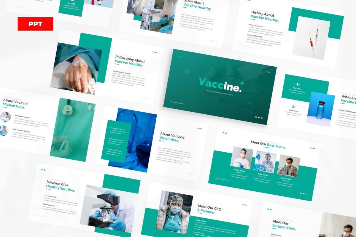 医疗简约疫苗医疗健康教育宣传PPT模板