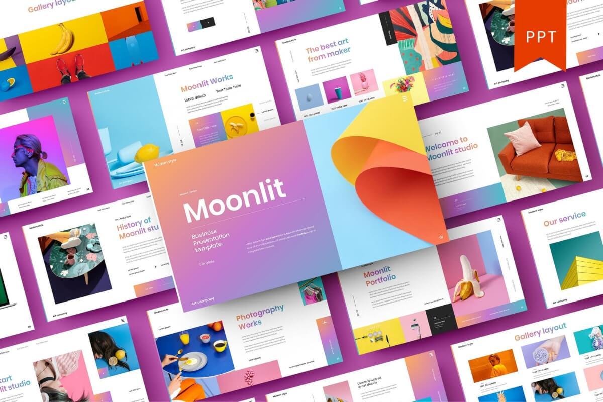 Moonlit-渐变色商业Google幻灯片模板