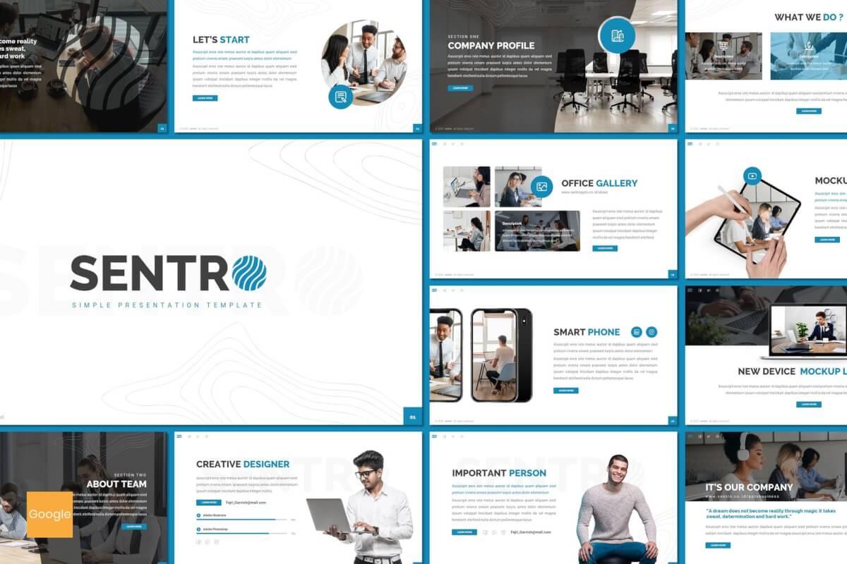 Sentro-蓝色总结汇报推广商业计划推广Google幻灯片模板