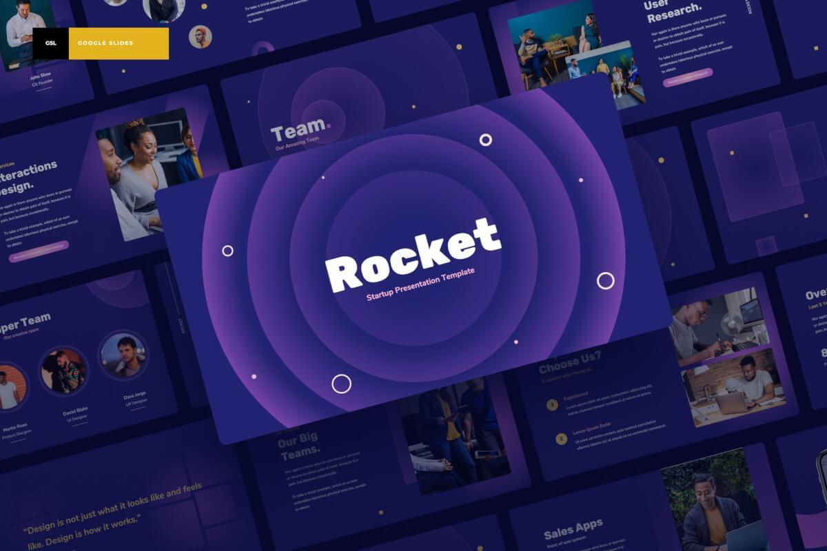 Rocket-深色酷炫科技风简约商务汇报Google幻灯片演示文稿
