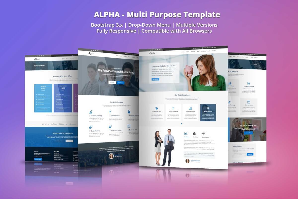 Alpha-商业咨询和金融服务自适应网站html模板
