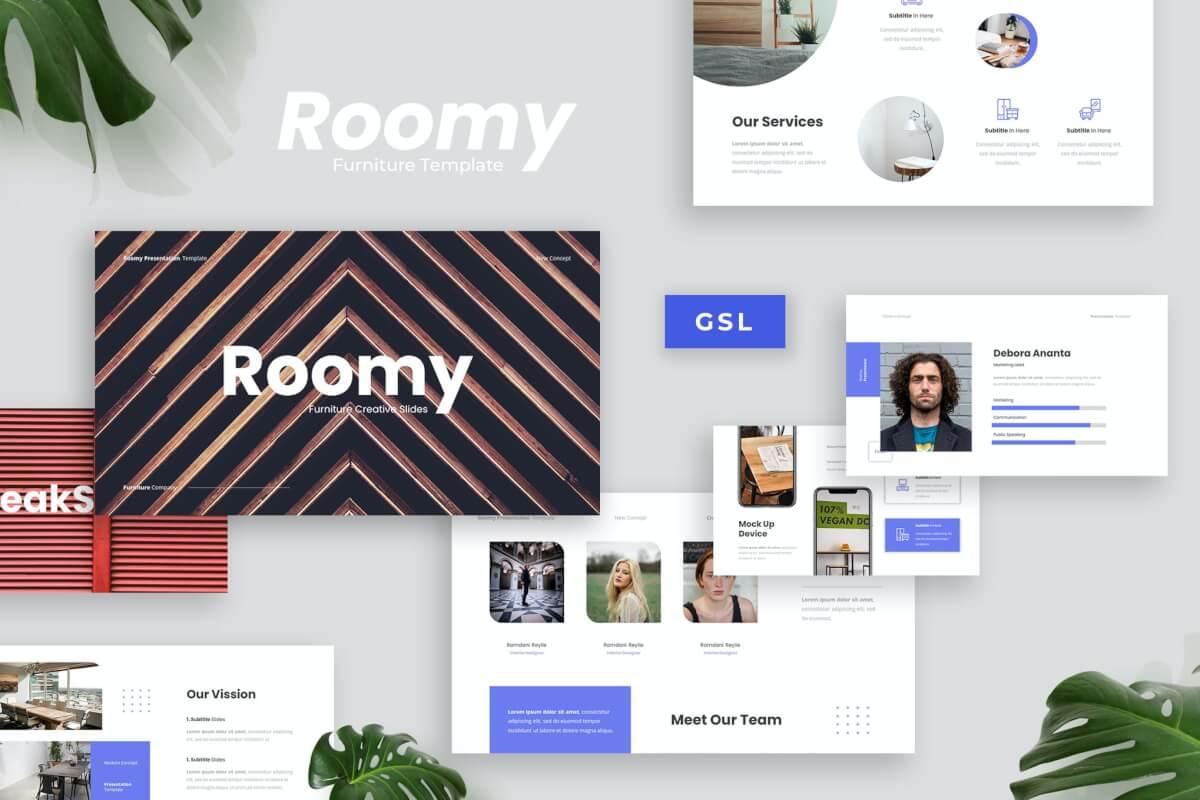 Roomy-简约风家居装修设计公司团队介绍Google幻灯片模板