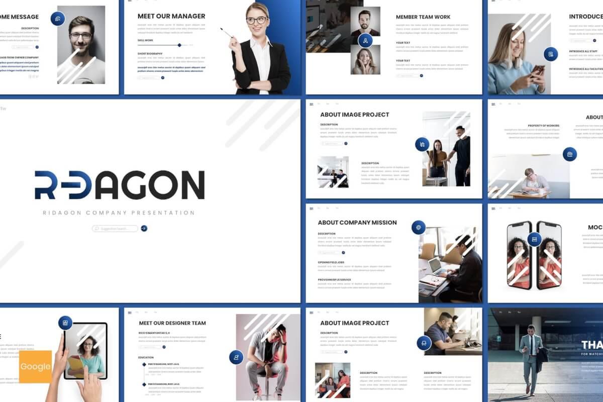 Ridagon-蓝色银行金融行业商业计划书Google幻灯片模板