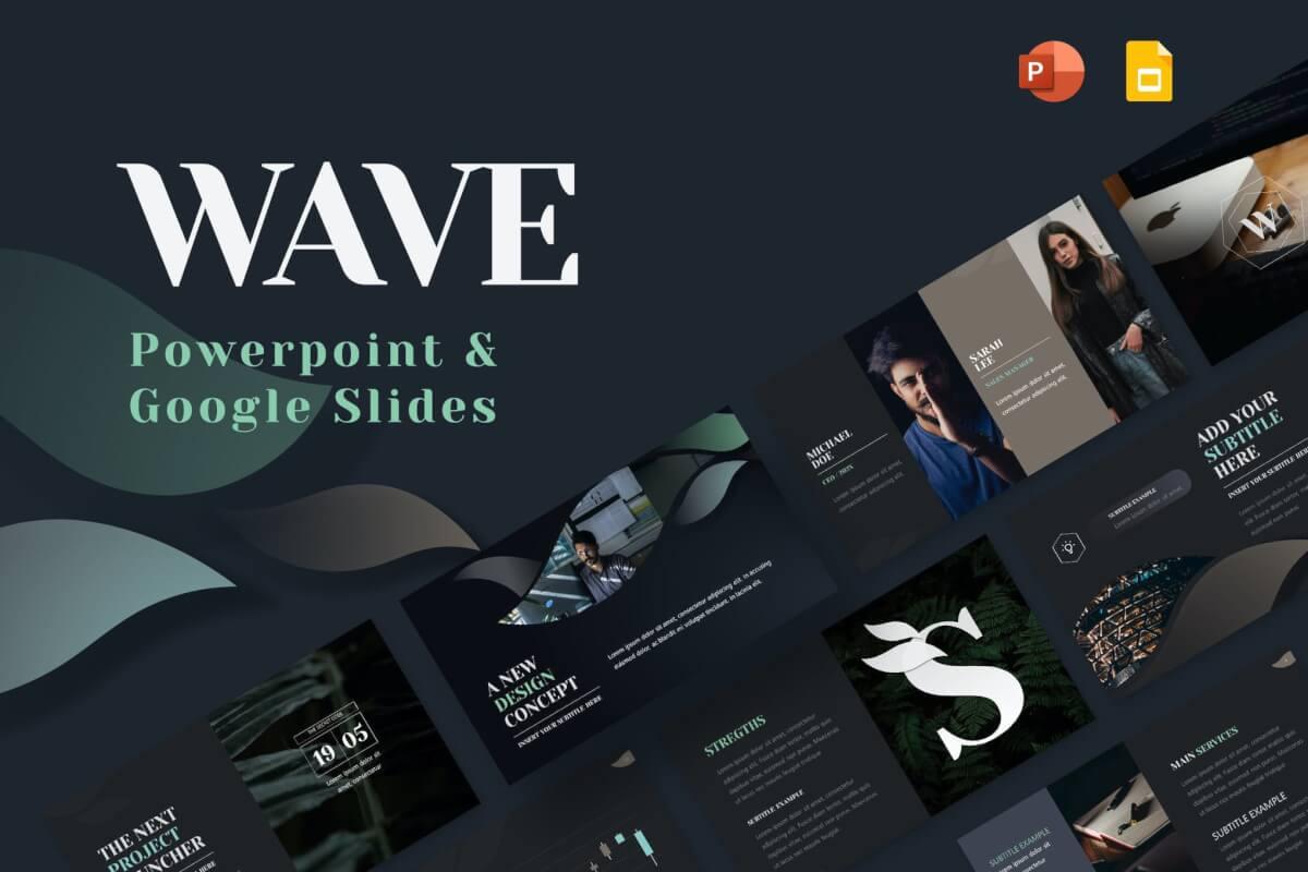 Wave-深色时尚大气商务风工作汇报总结PPT模板