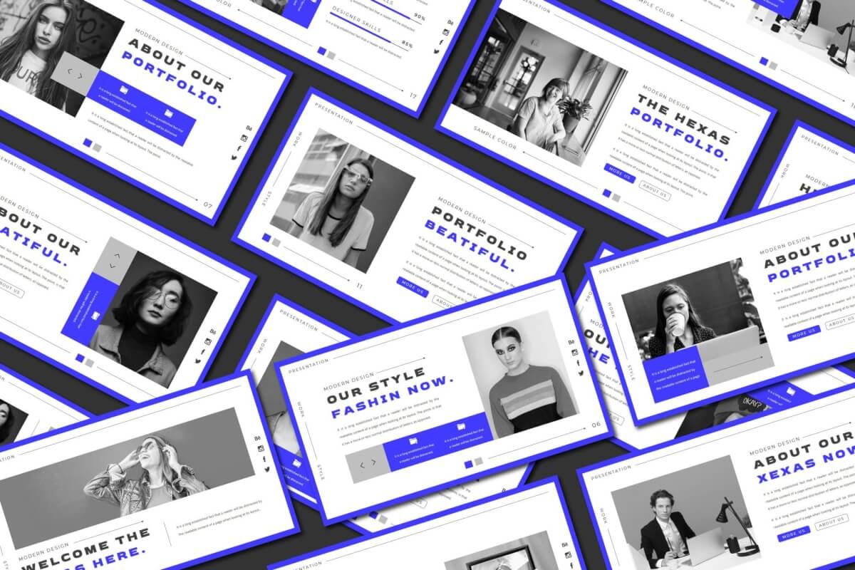 HEXAS-蓝色通用企业宣传公司介绍PowerPoint模板