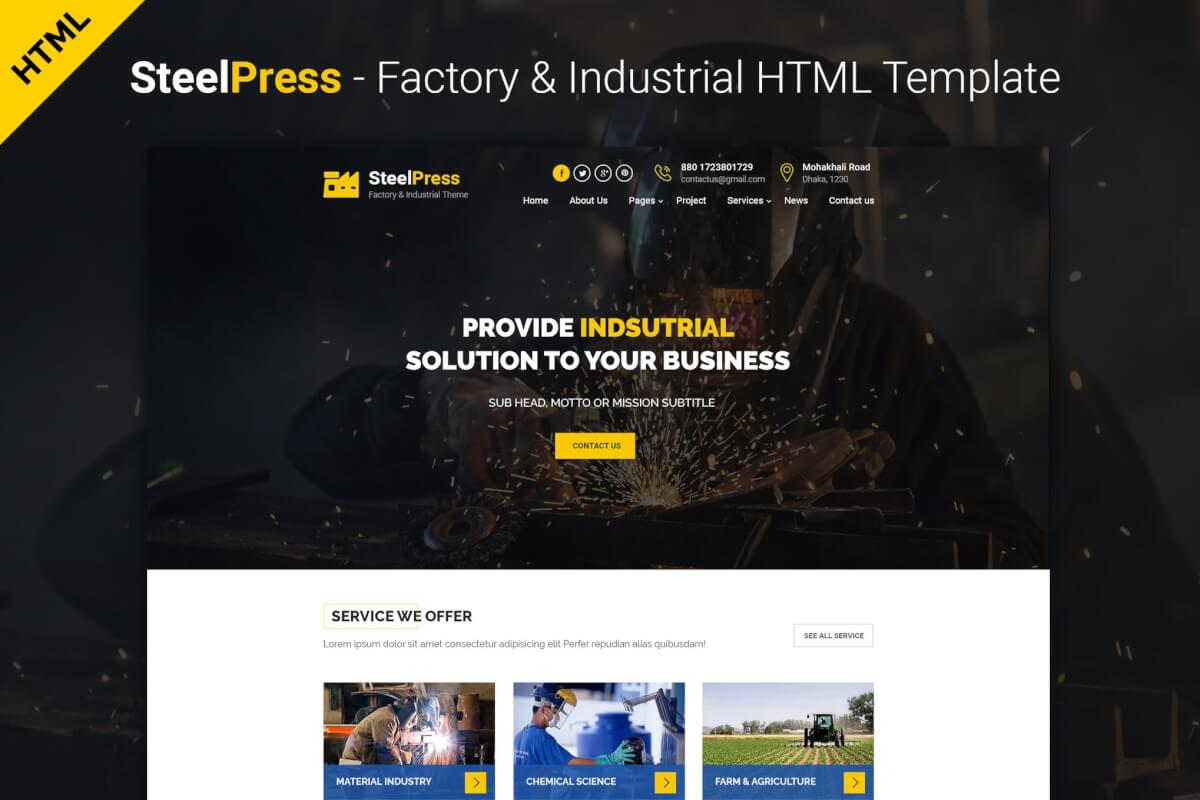 SteelPress-工业和工厂网站HTML前端模板